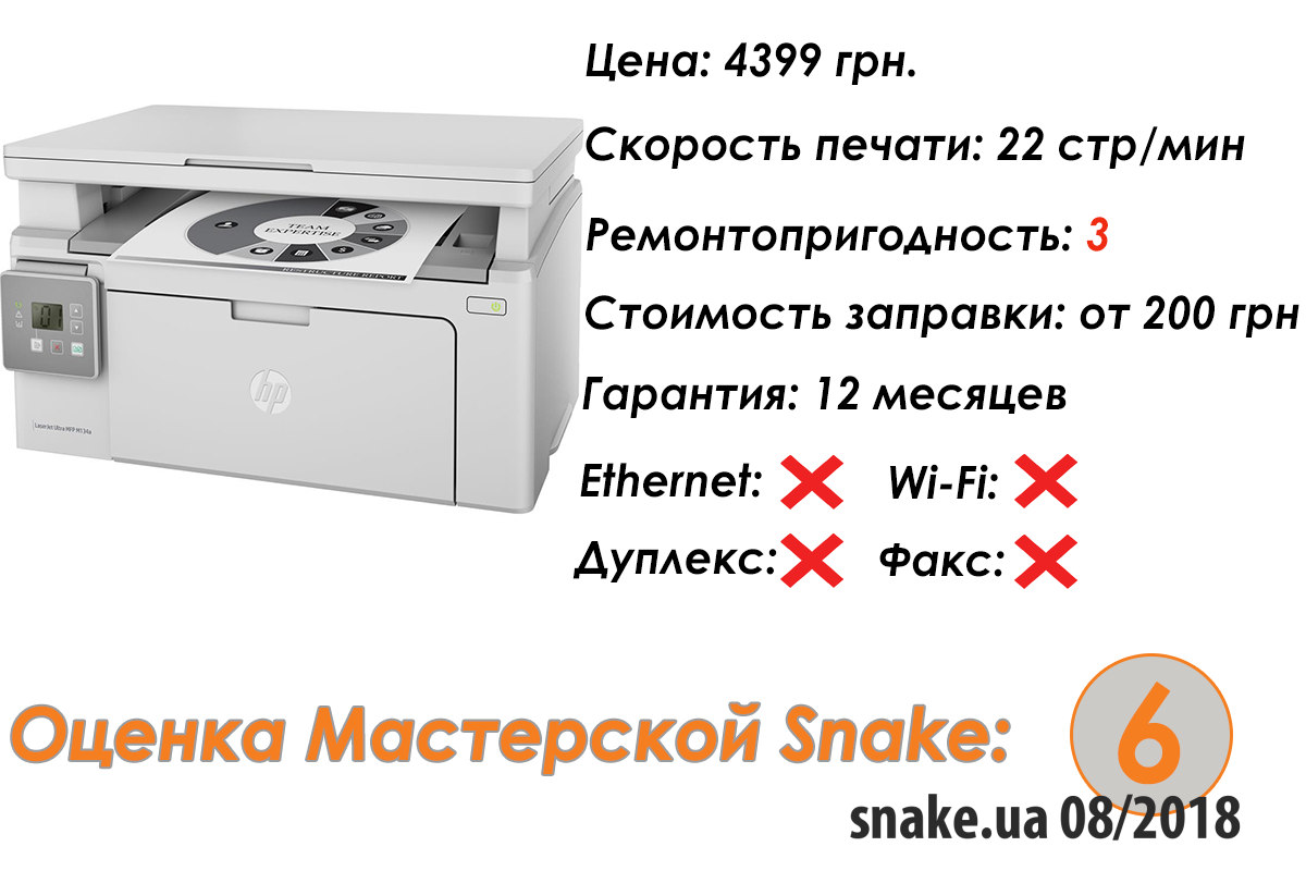 Характеристики HP LaserJet Ultra M134a